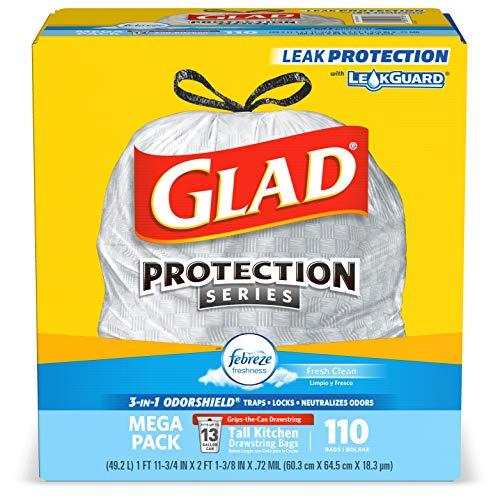 今日特价! GLAD 13加仑大尺寸除臭垃圾袋,110个