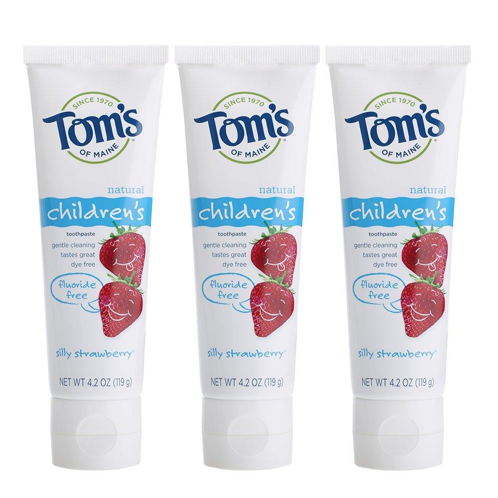 Tom's of Maine 草莓味不含氟儿童牙膏,3支装