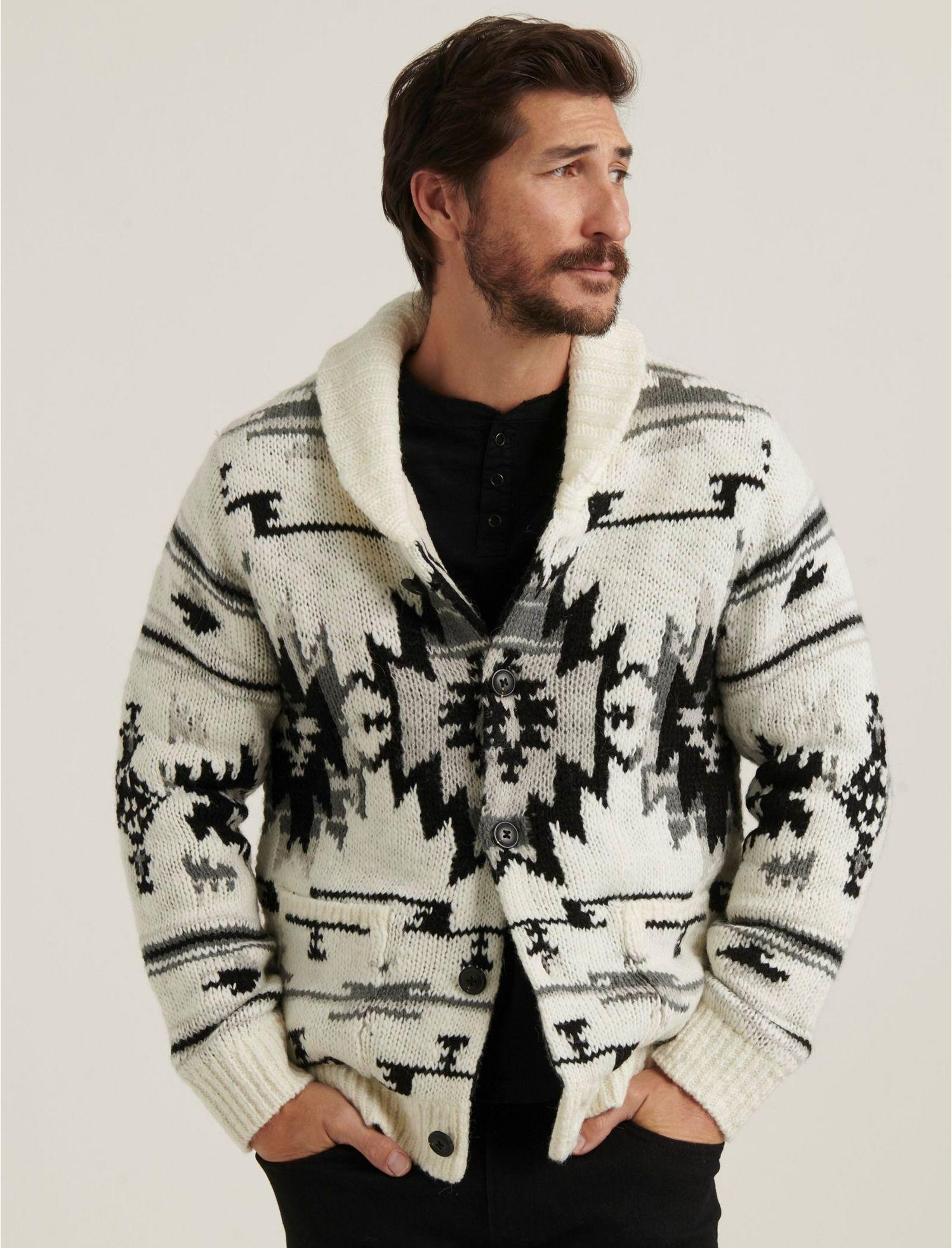 Lucky Brand Men's Southwestern Sherpa Lined Shawl Cardigan