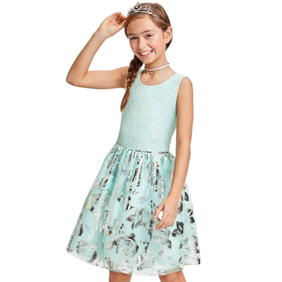 Kids' Easter Wear: Big Girls' Foil Jacquard Matching Tutu Dress (various)