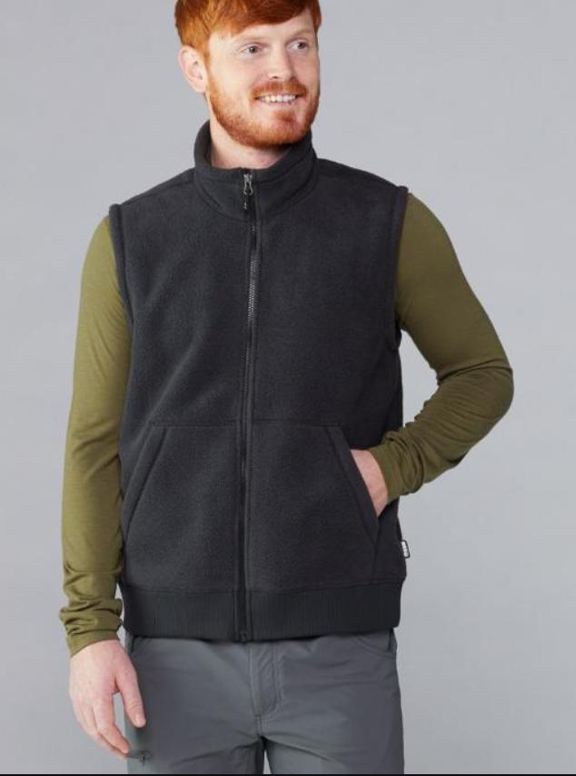 REI Co-op Men's Groundbreaker Fleece Vest (Grey or Black)