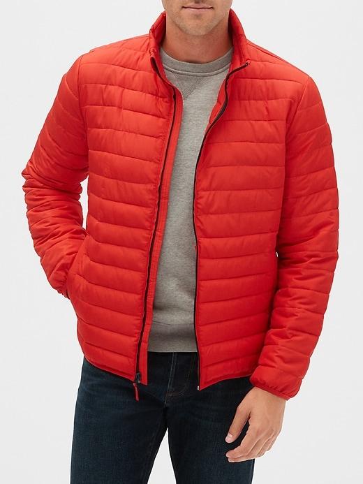 Gap Factory: Men's Quarter-Zip Sweater $12.60, Jeans $14.45, Puffer Jacket