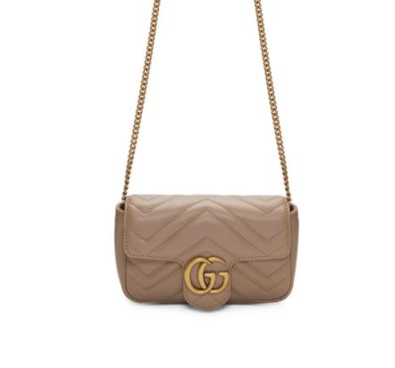 Gucci Pink Super Mini GG Marmont链条包