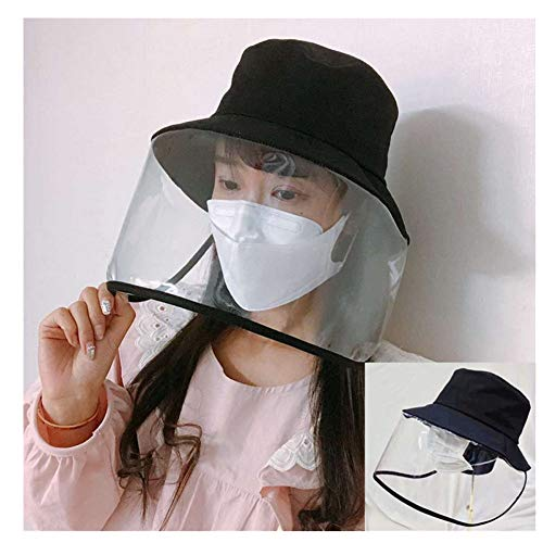 Face Shield Anti-Spitting Protective Hat Cover Outdoor Fisherman Hat Adjustable Size, Clear (Black)