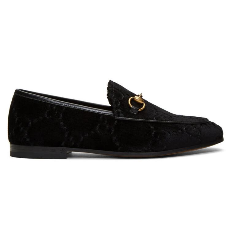 Gucci Black Velvet Jordaan丝绒乐福鞋