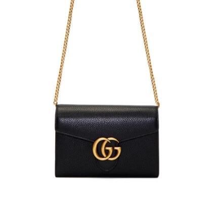 Gucci Black GG Marmont Cellarius链条包