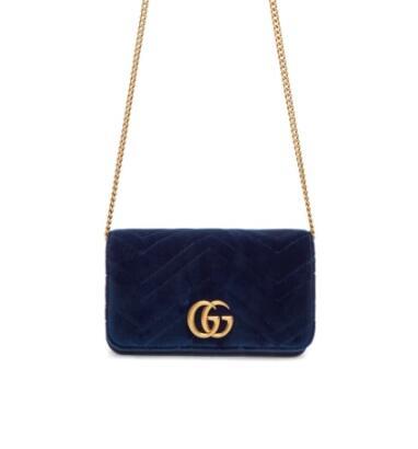 Gucci Blue Velvet GG Marmont 2.0 丝绒链条包