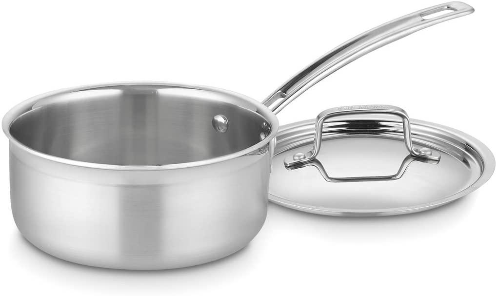 Cuisinart 三层复合锅体不锈钢带盖汤锅,1.5夸脱