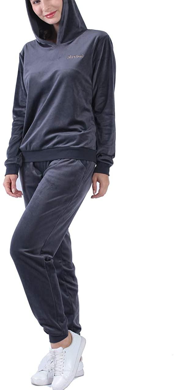 时尚居家服,Plusfeel 丝绒套头连帽和裤子 2件套