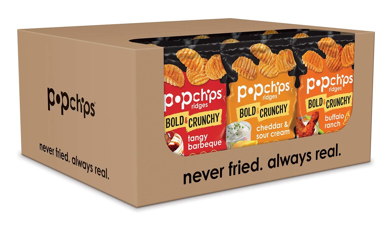 Popchips Ridged 薯片综合口味,健康非油炸