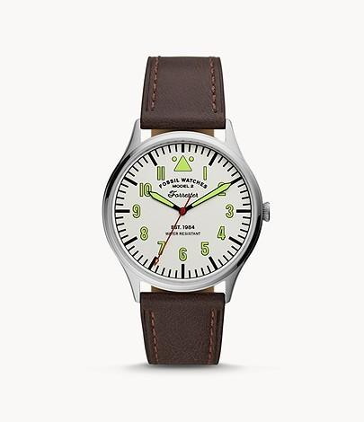 Fossil: 40% Off Select Sale: 42mm Engraved Forrester Watch w/ Leather Strap