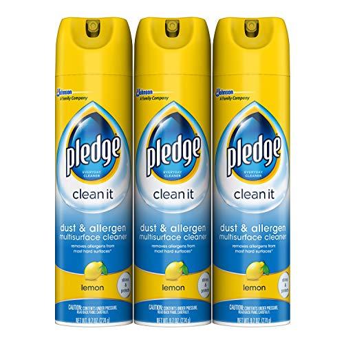 可去除99.9%细菌!Pledge 除尘除过敏源多功能清洁喷雾 柠檬香 3瓶装