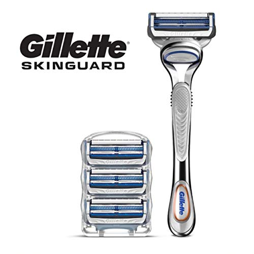 Gillette SkinGuard Men's Razor and Razor Blades, for Sensitive Skin, Handle + 4 Blade Refills