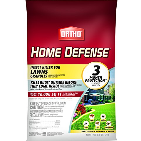 Ortho Home Defense Insect Killer for Lawns Granules - Treats up to 10,000 sq. ft, Lawn Insect Killer Kills Ants, Ticks, Fleas, Spiders, Centipedes & Other Listed Bugs, Fast Acting, 10 lbs.