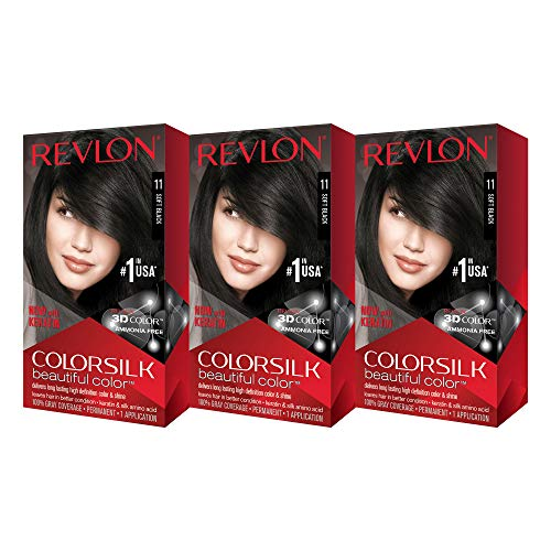 Revlon Colorsilk Beautiful Color, Soft Black, 3 Count