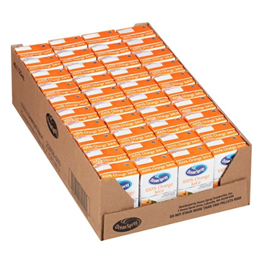 Ocean Spray 100% Orange Juice, 4.2 Ounce Juice Box (Pack of 40)