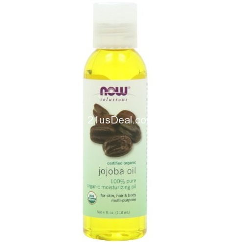 Now Foods  Solutions, Organic Jojoba Oil, Moisturizing Multi-Purpose Oil for Face, Hair and Body, 4 Fl Oz