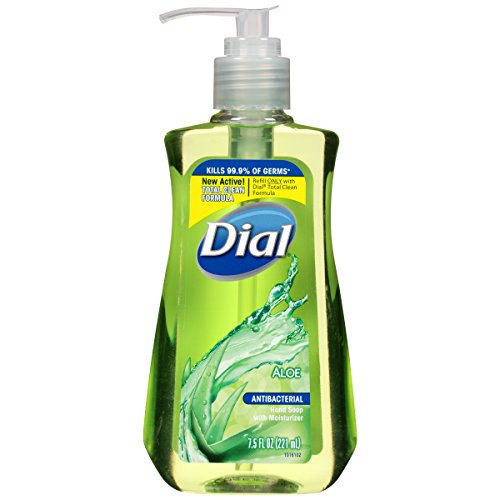 Dial Antibacterial Liquid Hand Soap, Aloe, 7.5 Fluid Ounces (Pack of 12)