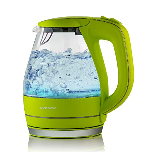 OVENTE Electric Kettle 1.5 Liter Tempered Borosilicate Glass BPA-Free, 1100 Watts Fast Heating, Auto Shutoff and Boil Dry Protection, Green (KG83G)