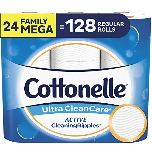 Cottonelle Ultra CleanCare Toilet Paper with Active CleaningRipples, Strong Bio!degradable Bath Tissue, Septic-Safe, 24 Family Mega Rolls