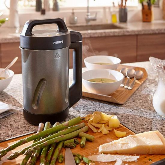 Philips Kitchen Appliances Philips Soup Maker, Makes 2 - 4 Servings, HR2204/70, 1.2 Liters, Black and Stainless Steel