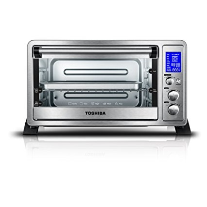 Toshiba AC25CEW-SS Digital Oven with Convection/Toast/Bake/Broil Function, 6-Slice Bread/12-Inch Pizza, Stainless Steel