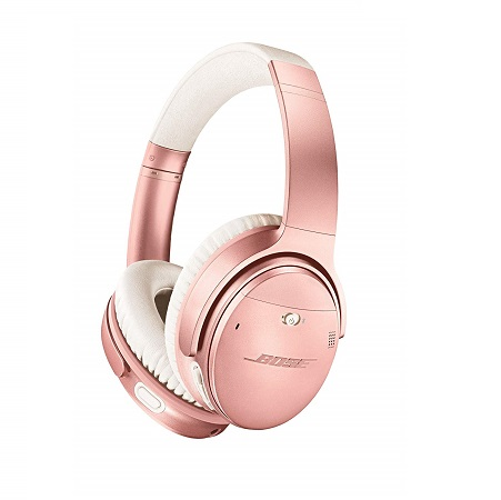 Bose QuietComfort 35 II Wireless Bluetooth Headphones, Noise-Cancelling, with Alexa voice control, enabled with Bose AR – Rose Gold