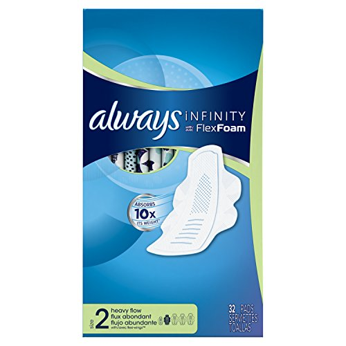 Always Infinity Size 2  Feminine Pads with Wings, Super Absorbency, Unscented, 32 Count - Pack of 3 (96 Total Count) (Packaging May Vary)