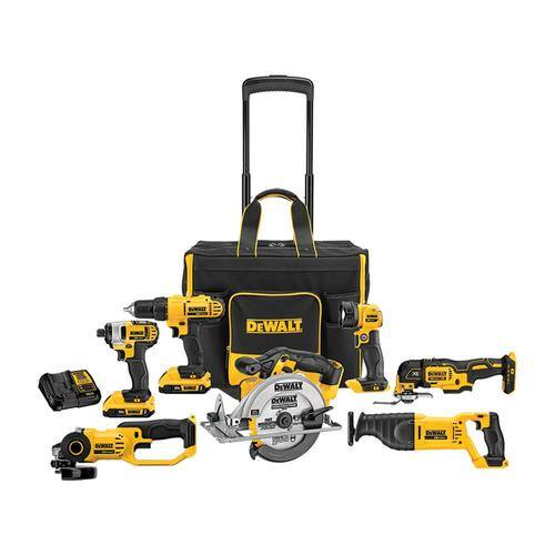 DeWALT 7-Tool 20V MAX Power Tool Combo Kit w/ Rolling Bag, 2 Batteries & Charger