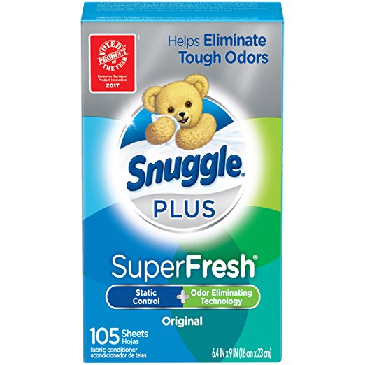 Snuggle Plus Super Fresh Fabric Softener Dryer Sheets with Odor Fighting Ingredients, 105 Count