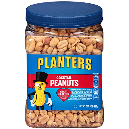 PLANTERS Salted Cocktail Peanuts, Resealable Jar, Heart Healthy Salted Peanuts, A Good Source of Essential Nutrients, Made with Simple Ingredients, Kosher, 35 Ounce Jar