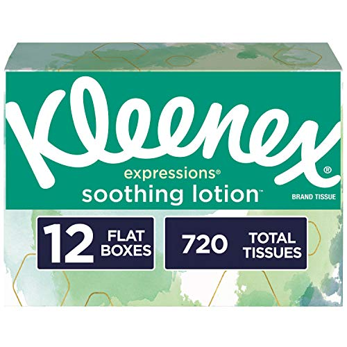 Kleenex Expressions Soothing Lotion Facial Tissues, 12 Flat Boxes, 60 Tissues per Box (720 Tissues Total), Coconut Oil, Aloe and Vitamin E