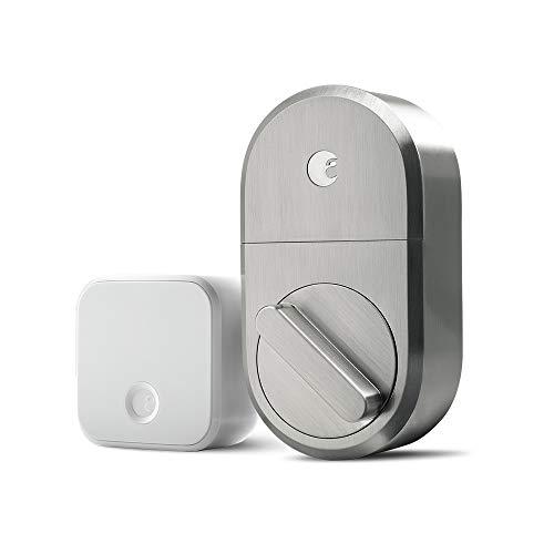 August Smart Lock + Connect Wi-Fi Brige, Satin Nickel, Works with Alexa