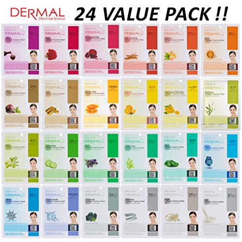 DERMAL 24 Combo Pack Collagen Essence Full Face Facial Mask Sheet - The Ultimate Supreme Collection for Every Skin Condition Day to Day Skin Concerns.