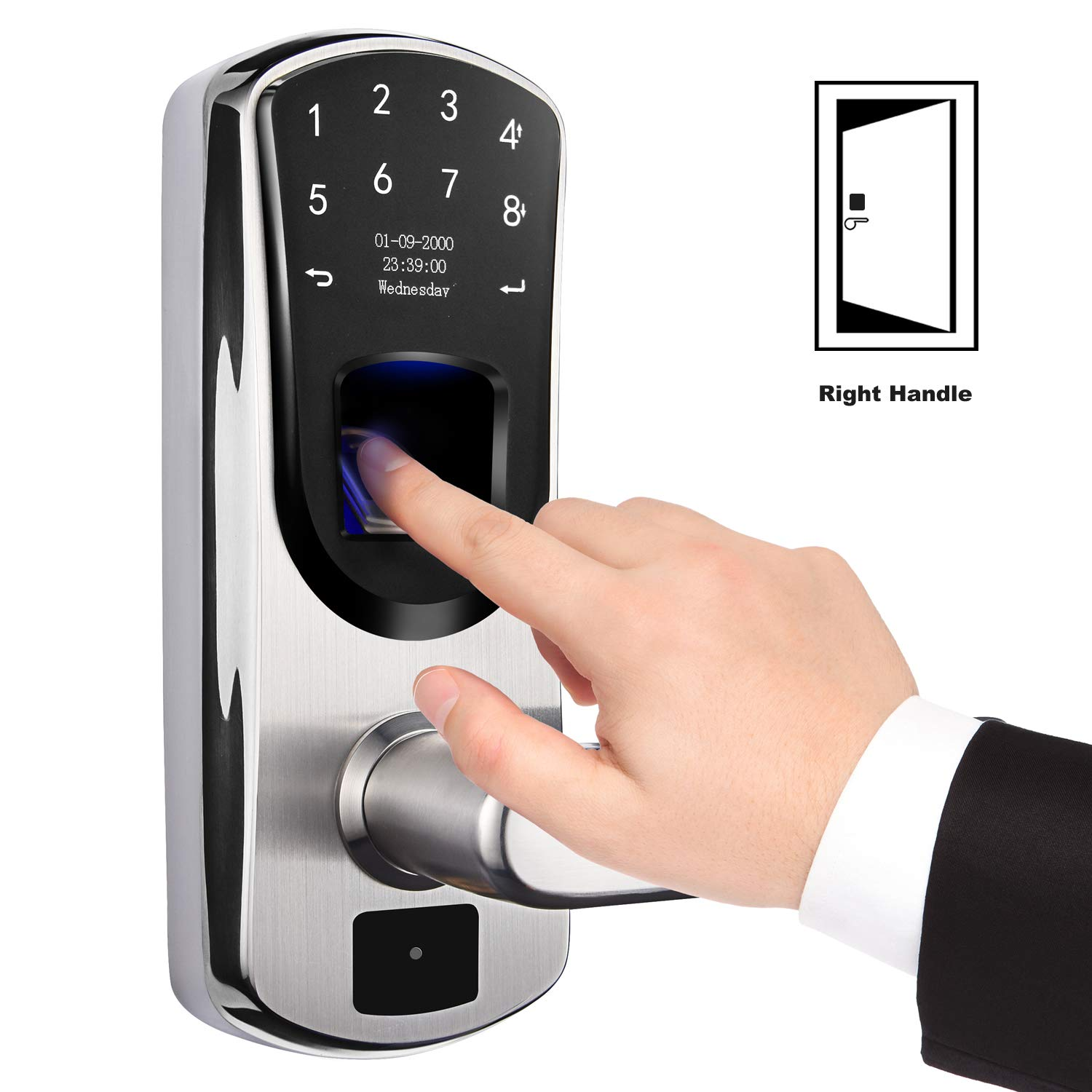 weJupit V8 Smart Lock, Fingerprint and Touchscreen Keyless Stainless Steel Lever Door Lock, Password Lock