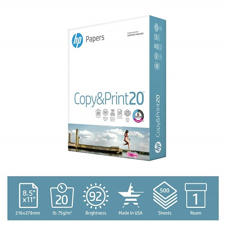 HP Printer Paper Copy&Print 20lb, 8.5 x 11, 1 Ream, 500 Total Sheets, 92 Bright, Acid Free, Engineered for HP Compatibility, 200060R