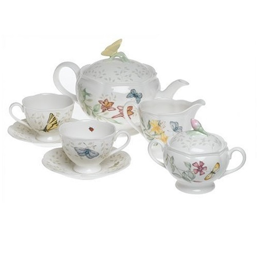 Lenox Butterfly Meadow 8-Piece Tea Set, Service for 2, White - 6386635