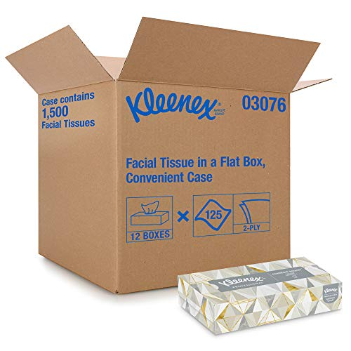 Kleenex Professional Facial Tissue for Business (21606), Flat Tissue Box, 125 Tissues / Box, 12 Boxes / Case