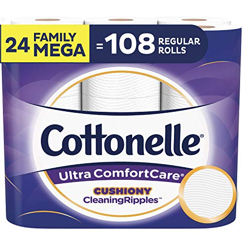 Cottonelle Ultra ComfortCare Toilet Paper with Cushiony CleaningRipples, Soft Biodegradable Bath Tissue, Septic-Safe, 24 Family Mega Rolls