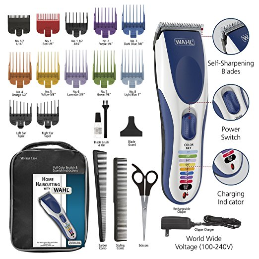 Wahl Color Pro Cordless Rechargeable Hair Clippers, Hair trimmers, 21 pieces Hair Cutting Kit, Color Coded guide combs For Women, Men, Kids and Babiesused by Professionals. #9649