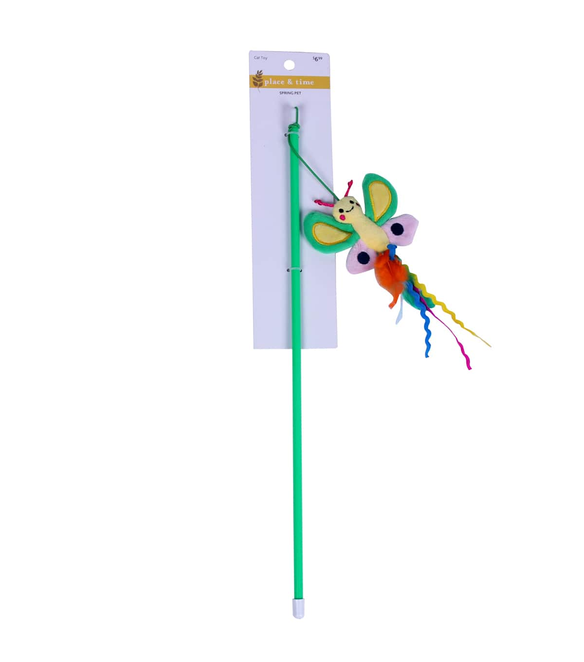 """Place & Time Dog/Cat Toys: 9.5"""" Plush Dragonfly Dog Toy $3, 18"""" Wand Cat Toy"""