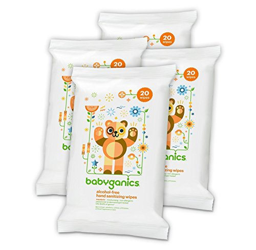 Babyganics Alcohol-Free Hand Sanitizer Wipes, Mandarin, 20 ct, 4 Pack, Packaging May Vary)