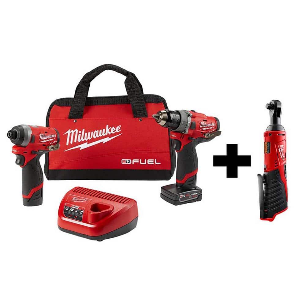 Milwaukee M12 Fuel 12V Hammer Drill/Impact Driver Combo Kit w/ M12 Ratchet