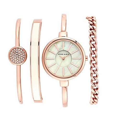 史低价!Anne Klein AK/1470RGST女士施华洛世奇水晶腕表套装