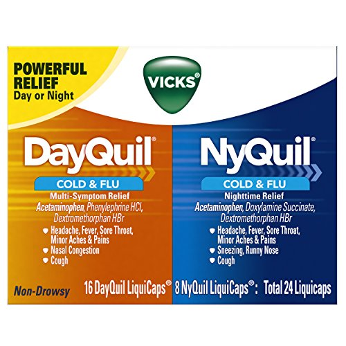 Vicks DayQuil & NyQuil Cough, Cold & Flu Relief Combo, 24 LiquiCaps (16 DayQuil, 8 NyQuil) - Relieves Sore Throat, Fever, and Congestion