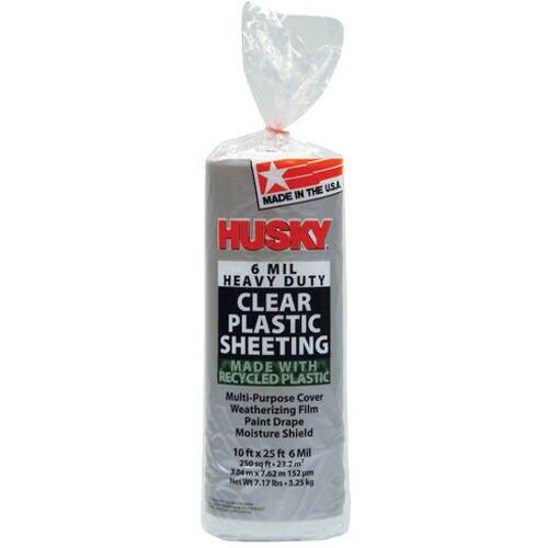 Husky 6 Mil Heavy Duty Clear Plastic Sheeting (10' x 25')
