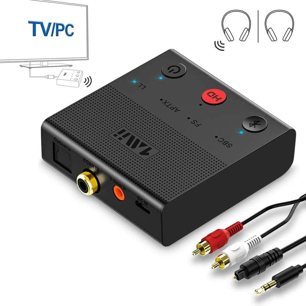 1Mii Bluetooth 5.0 AptX Transmitter Adapter w/ Coax, Optical, RCA, AUX, USB