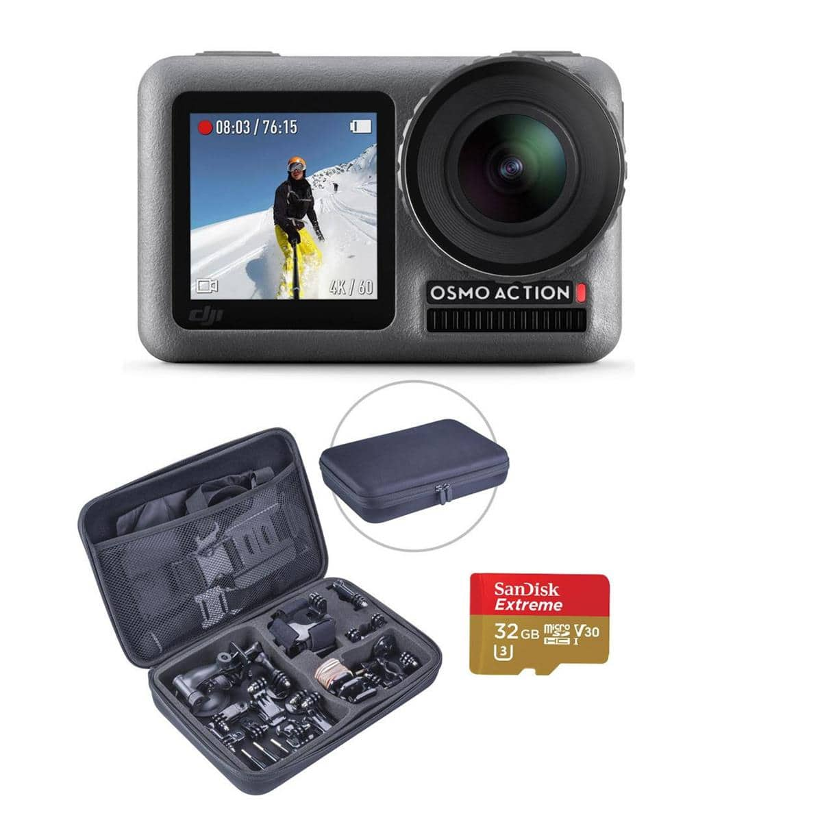 DJI Osmo Action 4K HDR Camera w/ 32GB microSD, Froggi Acc Set & Charging Kit