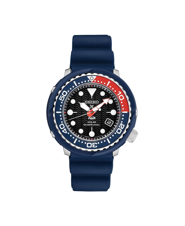 Men's Seiko SNE49 Solar Prospex PADI Special Ed. Diver Blue Silicone Strap Watch