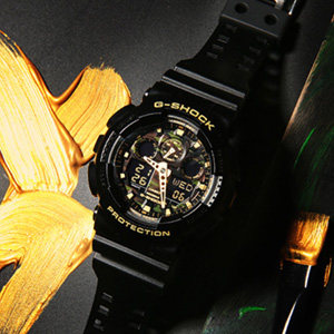 CASIO卡西欧 G-shock GA-100CF-1A9 男士双显运动手表